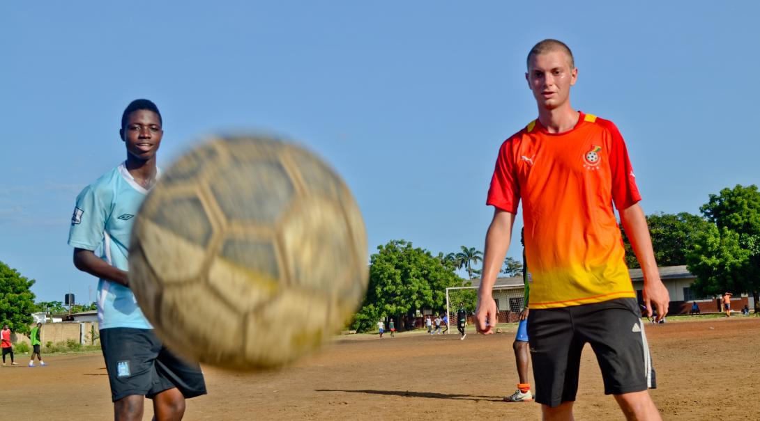 Teach soccer in Ghana and accompany coaches and players to games.